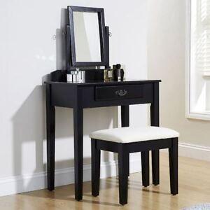 Shaker Dressing Table Set Black Adjustable Mirror Bedroom