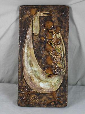 UnabhäNgig Atelier Schäffenacker - Keramik Wandplatte Motiv Hahn - 5,6 Kg. - 1950er/60er J.