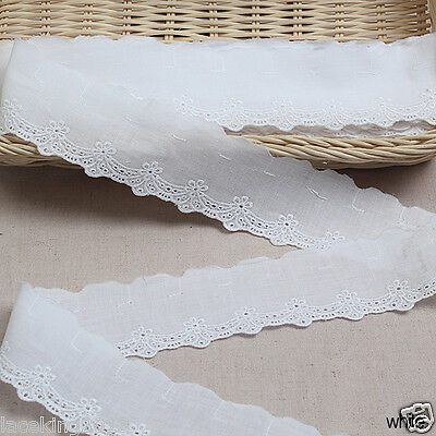"14Yds Broderie Anglaise eyelet cotton lace trim 2""(5cm) white yh775 laceking"