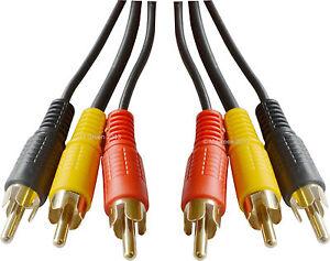 10m 33ft 3 Rca à 3 Rcas Phono Vidéo Câble Audio Plomb Composite Jaune Rouge Noir-afficher Le Titre D'origine Fxzfrjor-07172428-237312231