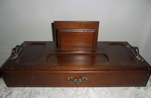 Details About Vintage Wood Desk Organizer By London Leather W Drawer