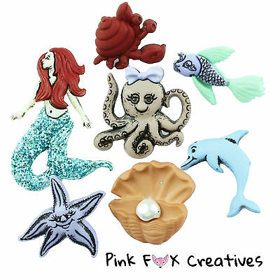 MERMAIDS DRESS IT UP NOVELTY CRAFT BUTTONS FAIRYTALE DOLPHIN SEW HOBBY FISH SEA