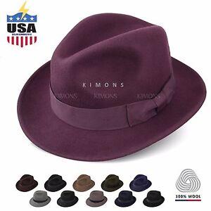 b069869d0 Details about Trilby Homburg Fedora Hat Wool jazz Godfather Gangster wide  brim Panama Derby