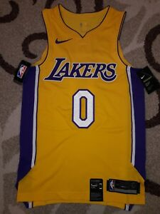 factory price 93f5f 9f7d9 Details about Nike Sm 40 Kyle Kuzma #0 LA Lakers Authentic Stitch Jersey  Gold Icon Length +2