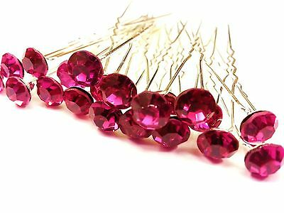CraftbuddyUS CP2 Purple 10pc 15mm Crystal Rhinestone Diamante Wedding Hair Pins