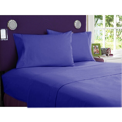 1000 TC EGYPTIAN COTTON COMPLETE BEDDING SET 5 PCs SPLIT SHEET SET E. BLUE COLOR
