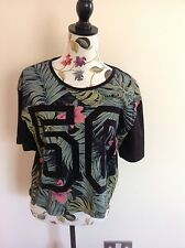 NEWLOOK UK 14 WOMENS T SHIRT FLOWERS AND 50 EMBLEM SUMMER