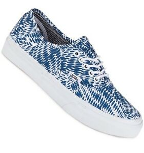 64e1f00bf3554e NW Vans Womens 5.5 Authentic Slim Mixed Geo Navy Blue White Sneakers ...