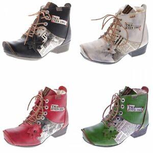 TMA Leder Damen Stiefeletten gefüttert Comfort Boots echt Leder Winter Schuhe TMA 8077 Gr. 36 42