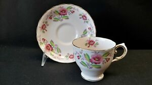 Tuscan-England-Fine-Bone-China-Flower-Pink-4223-Cup-amp-Saucer-AS-IS