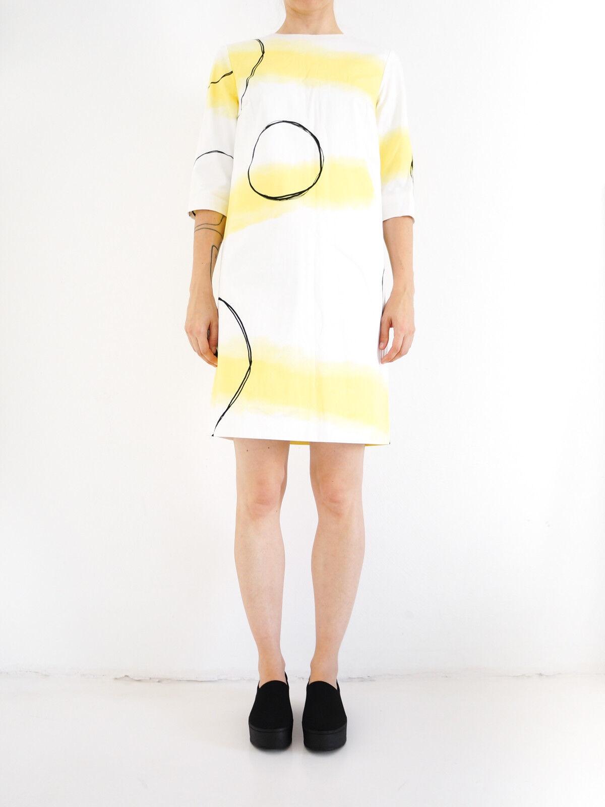 HOF115  COS Kleid baumwolle muster   Printed cotton dress Weiß Gelb 34