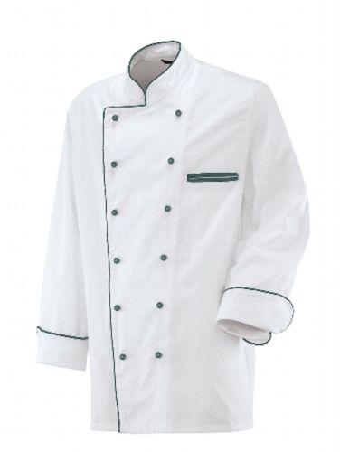 Exner Kochjacke weiß Paspel flaschengrün Bäckerjacke Berufsbekleidung Restposten