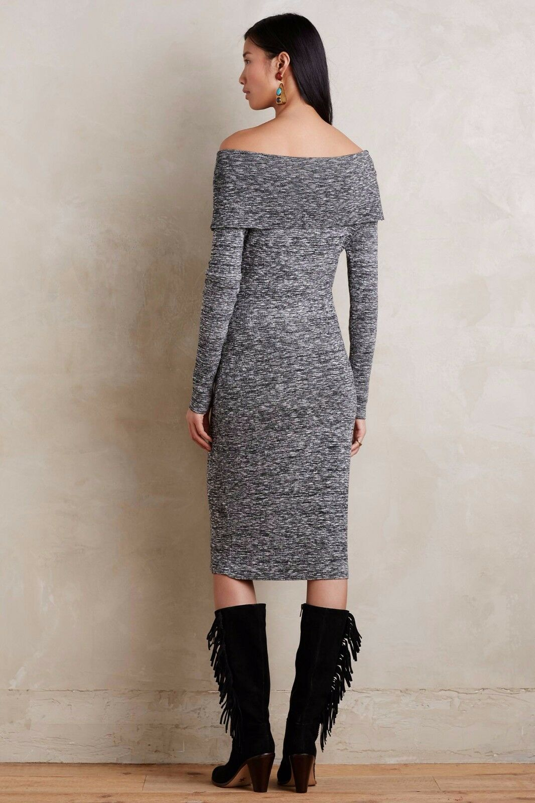 Anthropologie Sojourn Sweater Dress NWT M by Moth Moth Moth Off Shoulder acfed3