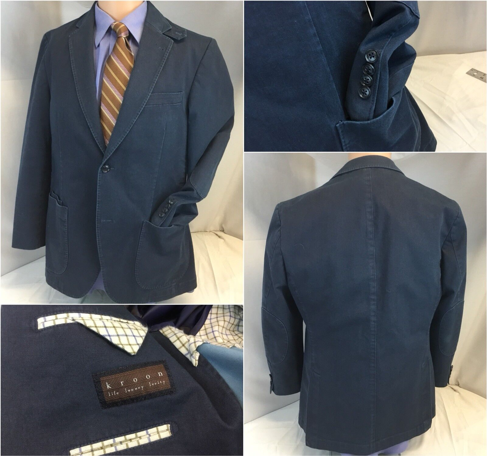 Kroon Blazer 38R Navy bluee 2b 2v Cotton Lycra 38 R Worn Once YGI D8-491