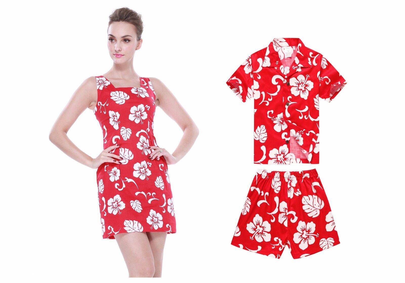 Mother Son Matching Tank Dress Hawaiian Dance Luau Cruise Party Red Hibiscus