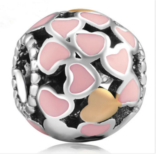 1pcs Argent Zircon Cubique European Charm Beads Fit 925 Collier Bracelet Pendentif Chaîne L095