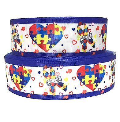 Water Color Autism Puzzle Pieces 78 58 1.5 Grosgrain Ribbon
