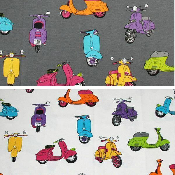 Vespa Mod Mopeds Scooter Cotton Linen Look Upholstery Fabric