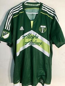 big sale 184f0 6f6c0 Details about Adidas Authentic MLS Jersey Portland Timbers Team Green  ShrtSlv sz S