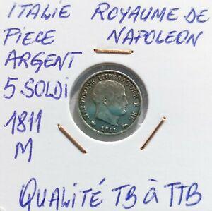 Italy/kingdom of napoleon silver coin 5 soldi 1811 m ...