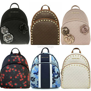 Michael Kors Abbey Medium Backpack MK Signature Floral Pink Blue Black Butterfly