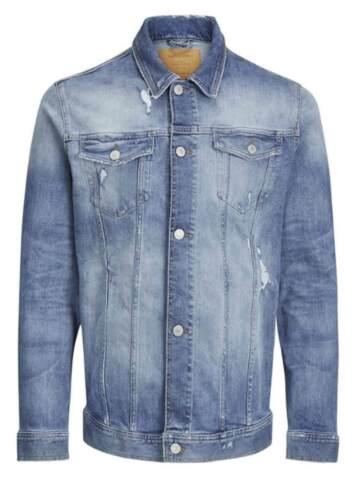 2XL Jack /& Jones Mens Distressed Western Denim Vintage Blue Jean Jacket S