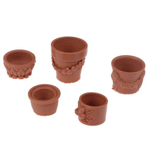 7Pcs//Set 1:12 miniature resin landscape flower pot dollhouse garden for kids` Bu