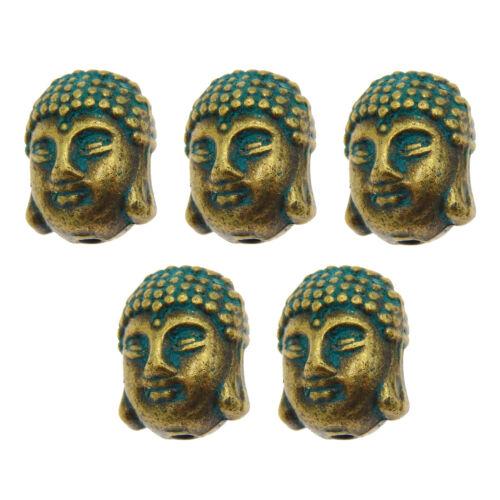 30 Pieces Buddha Head Charms Pendants 11x8x7mm Antiqued Bronze Jewelry 39955