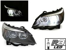 04-10 BMW E60/E61 V3 LED U Ring Square Bottom Angel Halo + R3 LED 80W Headlight