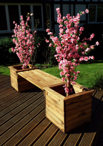 Hand Made 2 Square Planter Bench Chunky Rustic Wooden Garden Furniture
