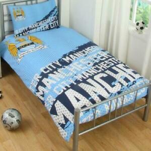 Manchester-City-Singolo-Copri-Piumone-Letto-Set-impatto-Man-City-Football-Biancheria-Da-Letto-Nuovo