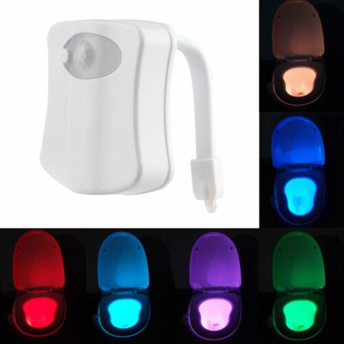 Toilet Night Light 8 Color LED Motion Activated Sensor Lamp Bathroom Seat Bowl