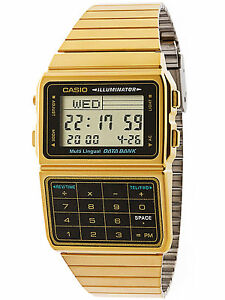 Casio-DBC611G-1D-Gold-Databank-Watch-Stainless-Steel-Calculator-5-Alarms-New