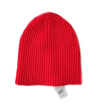 Womens Ann Taylor LOFT Solid Red Ribbed Knit Basic Beanie Hat NWT