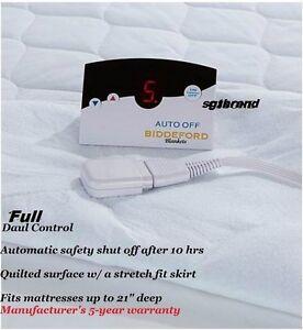 Auto Shut Off Quilted Skirt Biddeford Blanket Electric Heated Mattress Pad Full Ebay