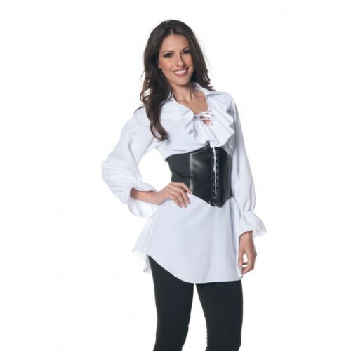 Pirate Laced Front Blouse Renaissance White Shirt Gypsy Peasant Adult Women Top