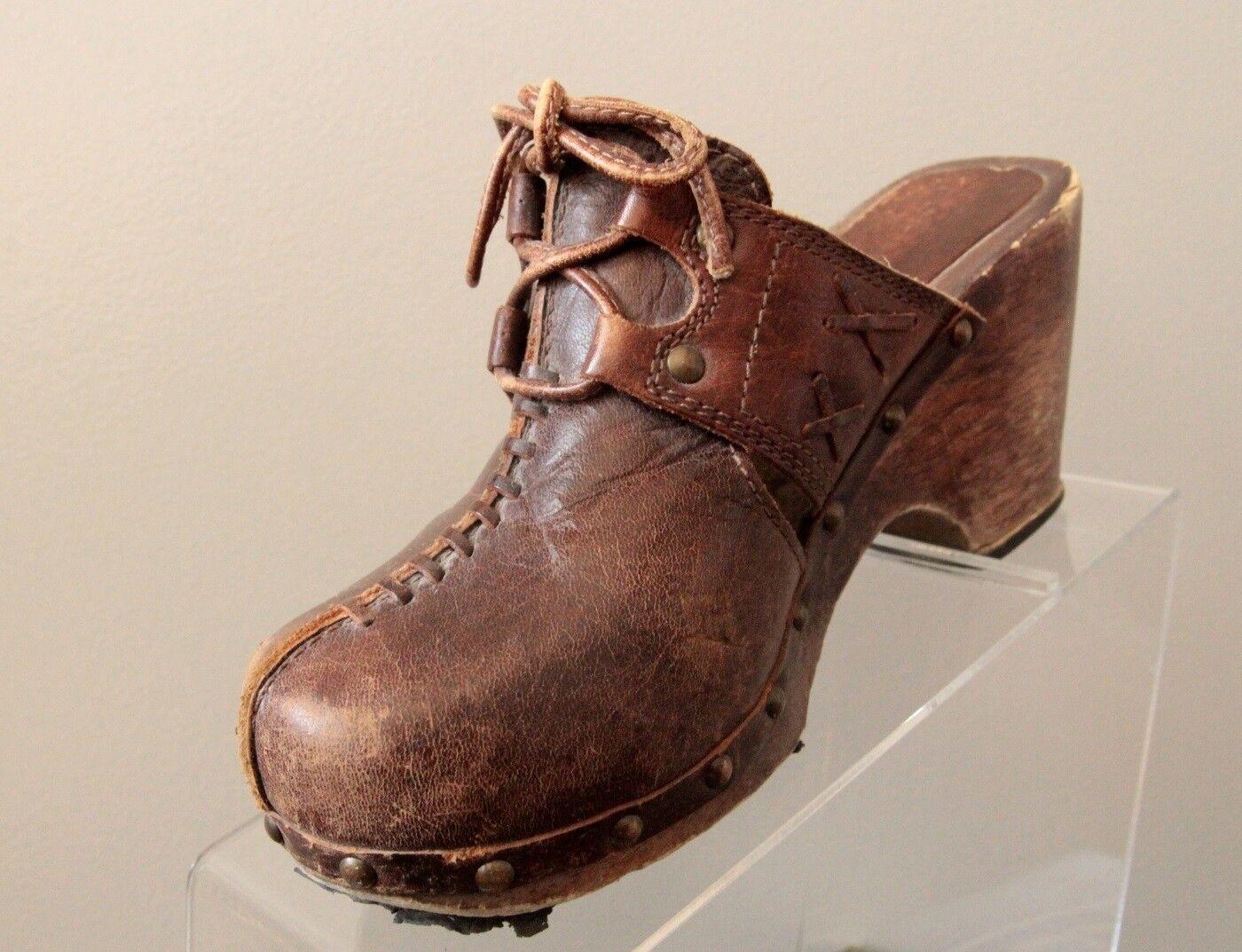Vtg Candies damen Größe 6M braun Leather Wedge Clogs Mules Slip On 58-73763