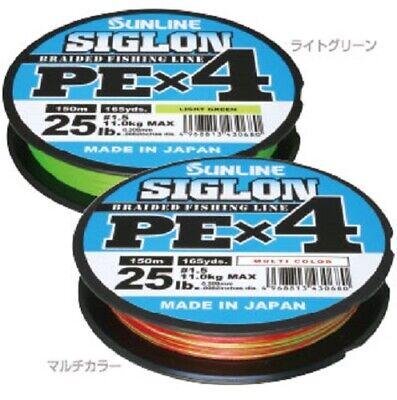 Sunline Siglon Braided Line X4 150M P.E 0.6 10LB Lime Green 0642