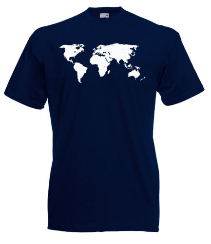 MAP OF THE WORLD DETAILED DESIGN GRAPHIC HIGH QUALITY 100/% COTTON T SHIRT