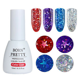 BORN-PRETTY-10ml-Holographisch-Star-Moon-Sequins-Gellack-Nails-Soak-Off-UV-Gel