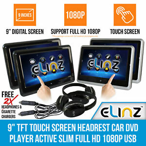 "2x 9"" TFT  Car Headrest DVD Player Touch Screen Active Slim Full HD 1080P USB SD"