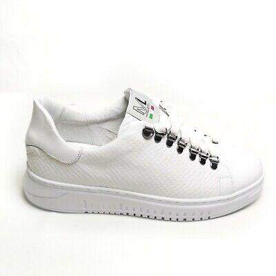 "Sneakers ML Uomo Simile ""Alexander Mcqueen"" Anaconda Bianco Scarpe Vera pelle | eBay"