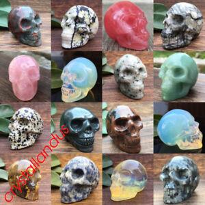 2'' Natural quartz crystal skull carved skull mineral gemstone reiki healing 1pc