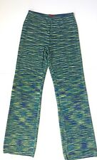 Orange Label MISSONI Stripe Knit Palazzo Flare Pants Sz 44 Blue Green