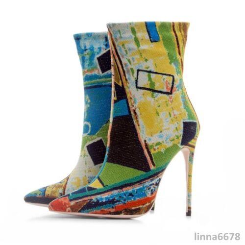 a Scarpe Floreale punta Tacco Stivaletti Punta da a donna spillo 01 multicolore rIRIFSq