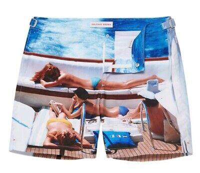 100% Gen Orlebar Brown Bulldog Fotografica Sul Ponte Swim Pantaloni Corti Nuova £ 259 W40 ????-mostra Il Titolo Originale