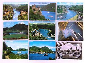 Postkarten-Lot-mit-RHEIN-SCHIFFEN-9-x-AK-gebr-Postcards-with-Ship-Ships-Schiff