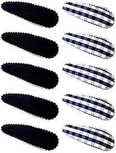 Un-Ensemble-de-10-Bleu-Marine-Carreaux-et-Blanc-Barrettes-a-Cheveux-Epingle-a
