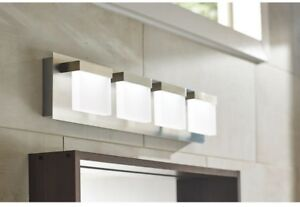 Details About 4 Light Led Bath Bar Brushed Nickel Bathroom Vanity Lighting Fixture
