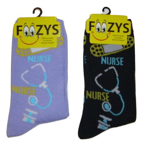 Nurse Stethoscopes Crew Socks Ladies//Girls 2 Pairs-1 Black+1 Lavender-One Size